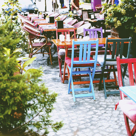 Absence Arrangement Chair Chair Deapth Of Field Empty Furniture In A Row Large Group Of Objects Outdoors Relaxation Restaurant Seat Table Tree Wood