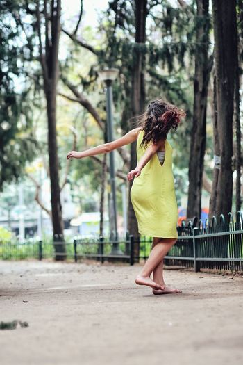#FREIHEITBERLIN Tree Young Women Full Length Curly Hair Women Beauty Standing