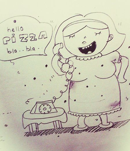 Drawing Pizza Kring Kring..