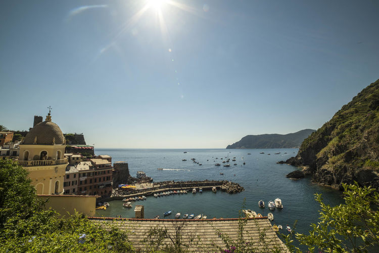 Architecture Beauty In Nature Blue Built Structure Cinque Terre Liguria Coastline Day Horizon Over Water Idyllic Nature No People Outdoors Scenics Sea Sky Sun Sunbeam Sunlight Sunny Tourism Town Tranquil Scene Tranquility Travel Destinations Water