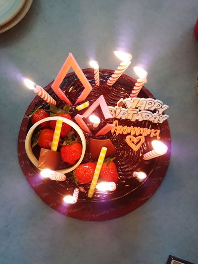 Birthday cake Chocolate♡ Shapes Happy Time Chocolate Cake On A Table Food And Drink Birthday Cake Candle Sweet Food Celebration Flame Cake Dessert Ready-to-eat Burning