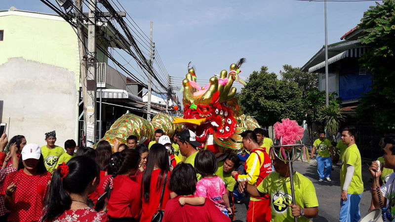 Suphan Buri, Thailand -20 August 2016: Thailand citizens of Chinese descent. Saluting the gods provincial Sart Chin Day or Ghost Festival or Spirit Festival August 20 2016 in Suphanburi, Thailand. China China China Art Dragon, Happiness Celebration Festive Festive Lights Festive Season Lucky
