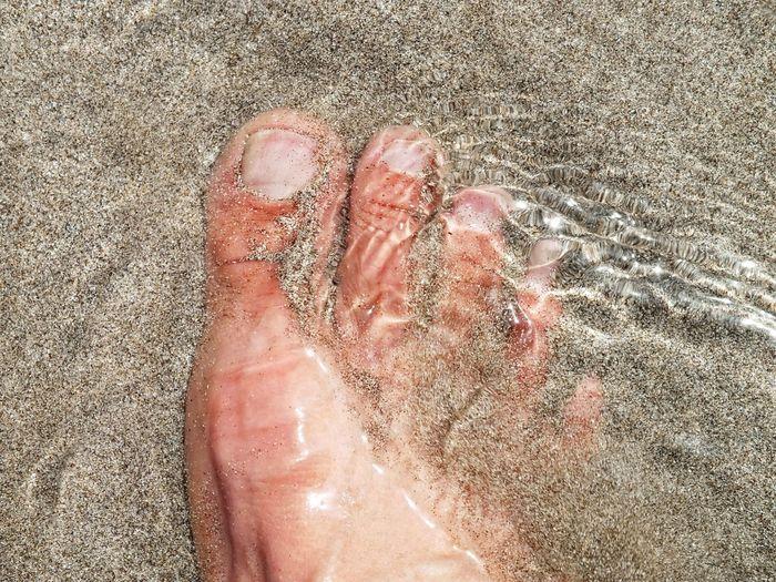 Feet on sandy beach