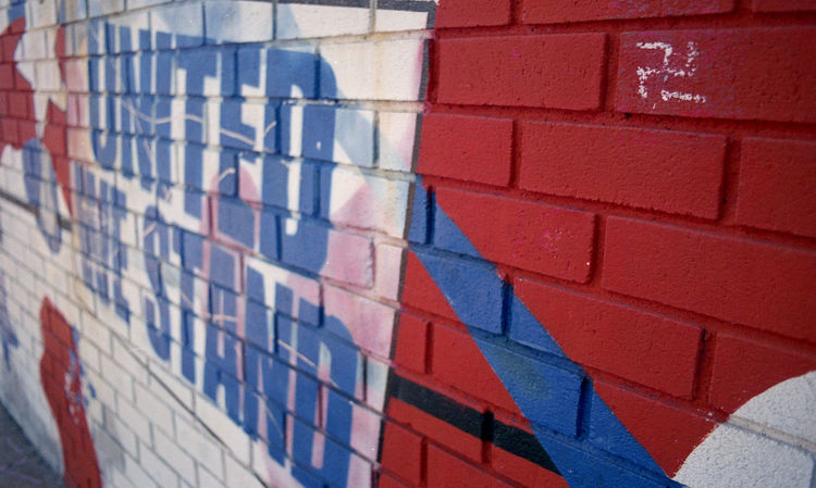 USA United States United We Stand Architecture Brick Wall Built Structure Facism Paint Populism Swastica United