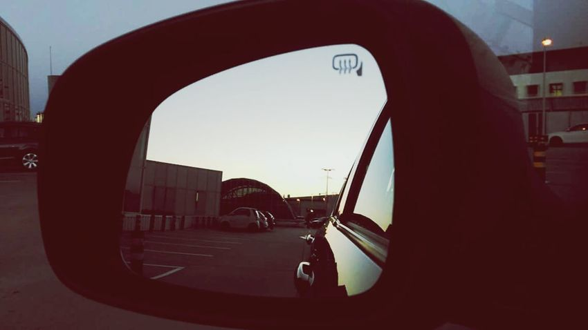 The Drive Car Transportation Sky Mode Of Transport Land Vehicle Side-view Mirror Silhouette Outdoors No People Close-up Day Vehicle Mirror Sunset Porto Evening November Sunset