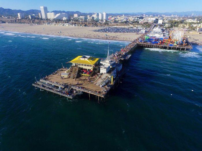 Aerial View Of Santa Monica Pier At Beach