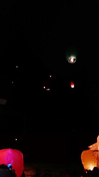 Dark Night Illuminated Party - Social Event Sky Spotlight Sicily Travelphotography Travel Outdoors Color Lanterns In The Dark Lanterns In A Night Sky