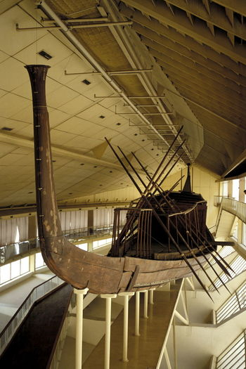 Architecture Barque Boat Bow Built Structure Day Egyptian Antiquities Egyptian Museum Giza Giza Solar Boat Museum Indoors  Khufu Ship Museum No People Oar Prow Rowing Boat Small Boat Solar Boat Solar Boat Museum Wooden Boat