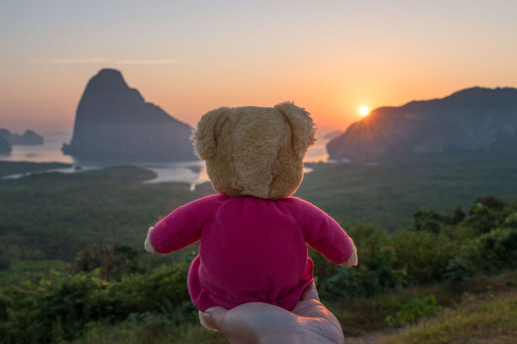 Cropped hand holding teddy bear against sea during sunset