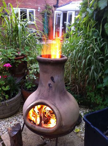 Bromsgrove Burning Chiminea Close-up Day Fire Pit Flame Garden Growth Heat - Temperature Leisure Activity No People Outdoors Plant Worcestershire Uk