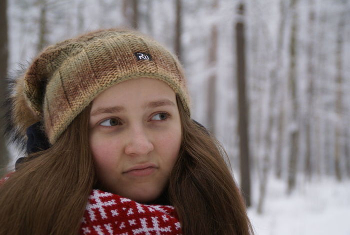 Childhood Close-up Day Face Front View Headshot Knit Hat Knitted  Latvian Girl Leisure Activity Lifestyles Nature One Person Outdoors People Portrait Real People Scarf Snow Teenager The Purist (no Edit, No Filter) Thinking Warm Clothing Winter Woods Uniqueness