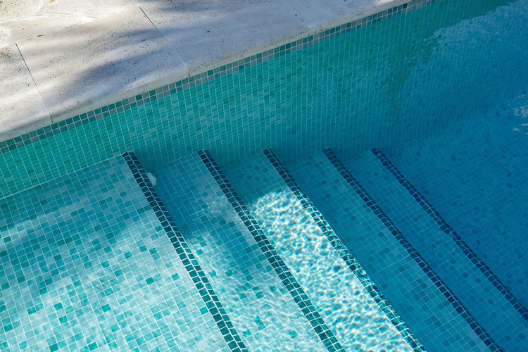 High angle view of swimming pool entrance stairs