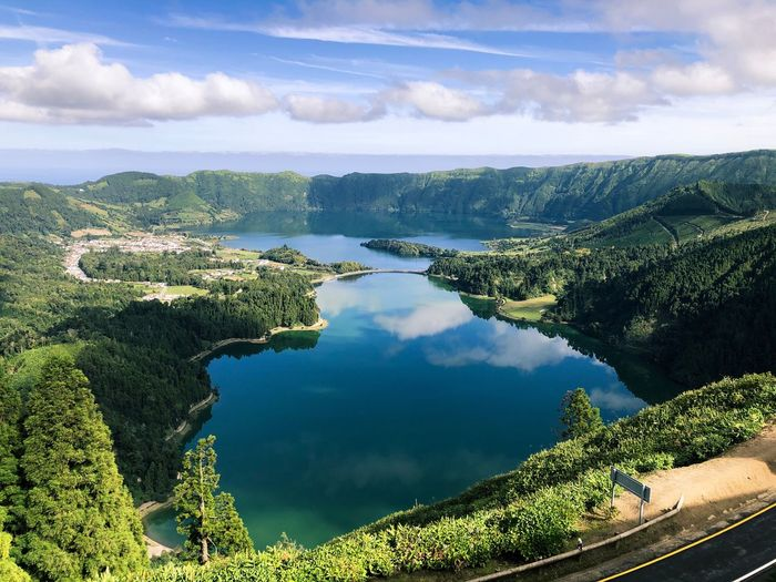 Açores Water Cloud - Sky Sky Tranquility Beauty In Nature Tranquil Scene Tree Lake Outdoors Non-urban Scene High Angle View Reflection Nature Scenics - Nature Plant No People Green Color Idyllic Growth Day