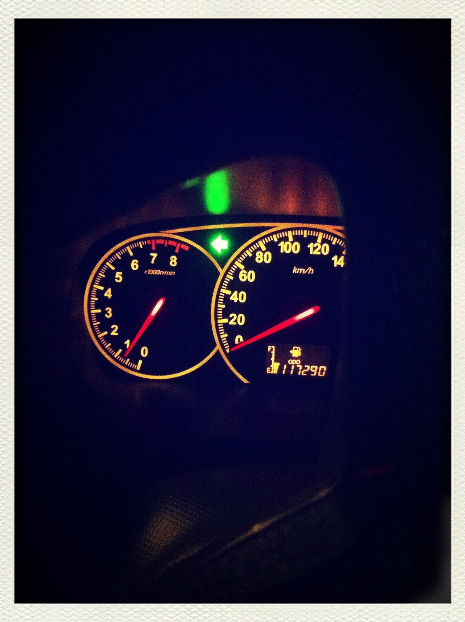 communication, transportation, text, number, western script, car, transfer print, clock, time, mode of transport, land vehicle, speedometer, auto post production filter, technology, close-up, illuminated, guidance, night, no people, indoors