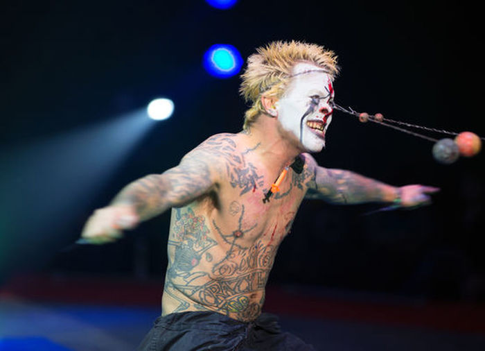 One Man Only Only Men One Person Adults Only Tattoo Performance Waist Up Shirtless People Low Angle View Body Adornment Arts Culture And Entertainment Indoors  Live Event Men Adult Popular Music Concert Performing Arts Event Young Adult Rock Music