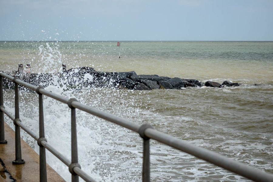Beach Photography At The Beach Beauty In Nature Day Force Horizon Over Water Motion Nature No People Ocean Spray On The Beach Outdoors Power In Nature Railing Railings Scenics Sea Sky Tide Coming In Water Wave