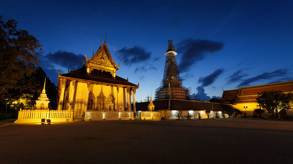 Wat Phra Mahathat - Buddhist Temple Abstract Architecture Attractions Beautiful Blue Blue Sky Built Structure Capital Cities  City Life Culture Famous Place Fascination Fascination Street Holiday Illuminated Landmark Light Nakhon Si Thammarat No People Sky Sunset Sunshine Temple - Building Turism Urban Lifestyle