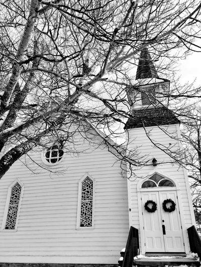 """Winter Worship"" Historical Methodist Church in Williams, Arizona, USA. Church Churches Historical Building Winter Black And White Photography Blackandwhite Photography Black And White Blackandwhite Snow"