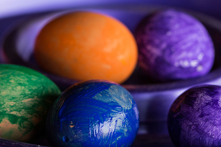 Close-Up Of Painted Easter Eggs
