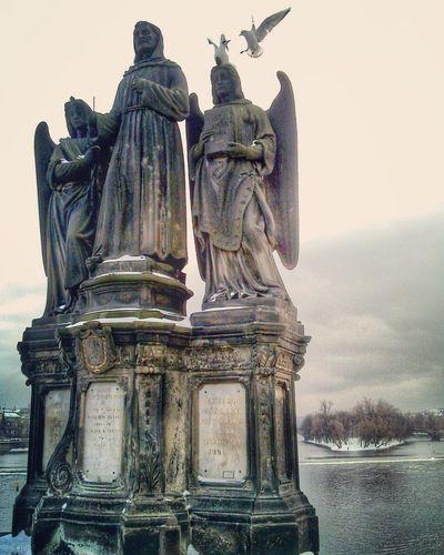 Icy Prague Prague Statue Birds Bird Bridge View Bridge Ice #sculpture #nature #water #flows #waterfalls Ice Frozen Snow