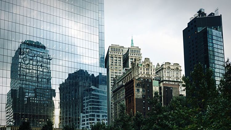 Cityscape ... Architecture Skyscraper Building Exterior Modern Built Structure City No People Reflection Skyline Skyscrapers Cityscape Outdoors Day Travel Destinations Growth Sky Urban Skyline The Architect - 2017 EyeEm Awards Architecture_collection New York City The Graphic City Colour Your Horizn