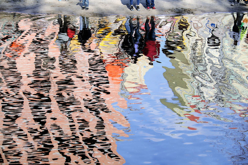 Close-up of reflections in water