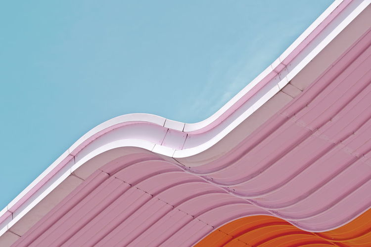 Colors Wave Abstract Architectural Feature Architecture Blue Building Building Exterior Built Structure Clear Sky color palette Copy Space Day Low Angle View Modern Multi Colored Pattern Pink Color Roof Sky