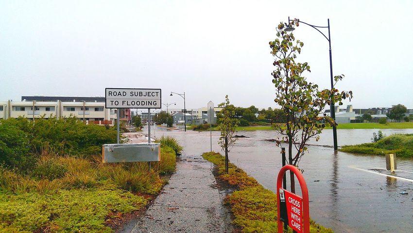 February 2014. Bridge flooded over