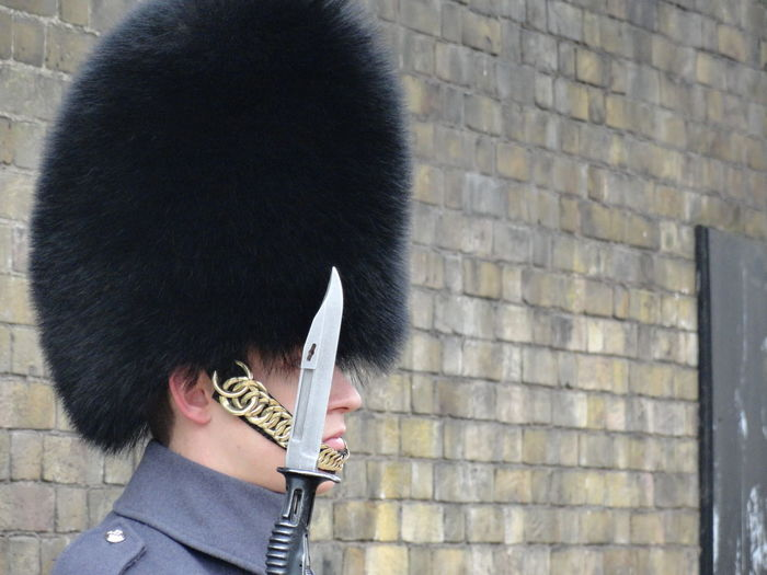 Who knows where I was?! This was taken in January 2013 and still one of my favorite photos from my visit. Black Black Color Brick Wall Close Up Close-up Costume Cultures Day Fashion Guard Occupation Old Times Oldschool Outfit Serious Tradition Work London Lifestyle London