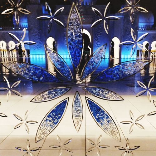 Glass Art Cut Glass Pattern Full Frame Blue No People Close-up Day Indoors