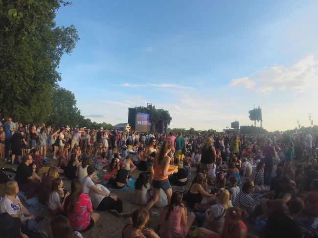 Large Group Of People Real People Leisure Activity Lifestyles Sky Concert Festival 1989 Taylor Swift Park London Hyde Park Tree Casual Clothing Women Men Outdoors Rear View Day Mixed Age Range Watching Holi Adult People