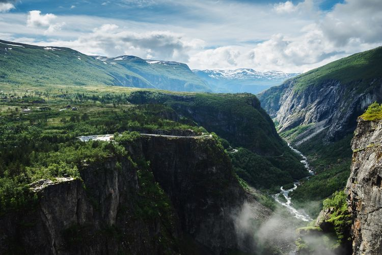 Vøringsfossen from above! Love Norway 🇳🇴! Norway Mountain Nature Scenics Beauty In Nature River Waterfall Landscape Sky No People Outdoors Water EyeEmNewHere