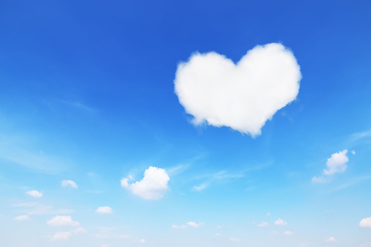 cloud - sky, sky, heart shape, love, beauty in nature, positive emotion, tranquility, emotion, blue, no people, nature, day, low angle view, white color, tranquil scene, outdoors, backgrounds, scenics - nature, idyllic, sunlight, valentine's day - holiday, meteorology