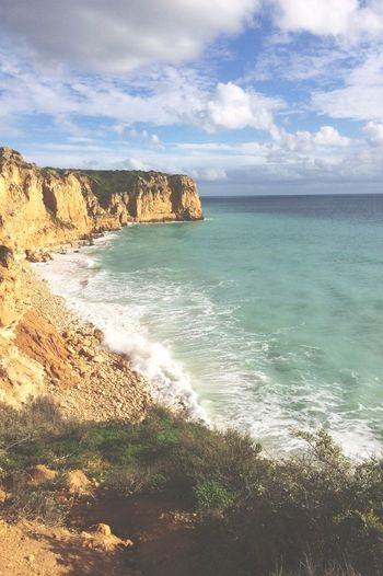 Portugal Sea Horizon Over Water Scenics Water Beauty In Nature Nature Sky Beach Cliff Idyllic Outdoors Cloud - Sky Tranquil Scene Day No People Wave Portugal Holiday