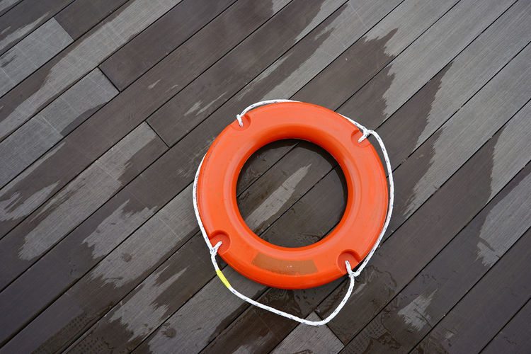 Buoy Circle Background Copy Space Wooden Deck Wood - Material Minimalist Orange Color