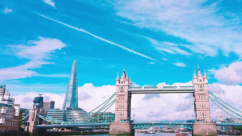 Sky Architecture Built Structure Cloud - Sky Connection Travel Destinations Bridge - Man Made Structure Tourism Travel City Suspension Bridge Outdoors Bascule Bridge Day Low Angle View Building Exterior Transportation No People Urban Skyline Cityscape EyeEm LOST IN London Freshness EyeEm Best Shots EyeEm Nature Lover Eye4photography