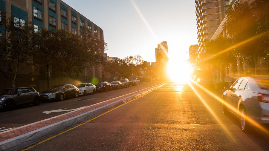 Sun Rise in the Street!! City Street Early Morning Nature In Street Rising Of Sun Sun Sunbeam Sunlight Sunrise In Street