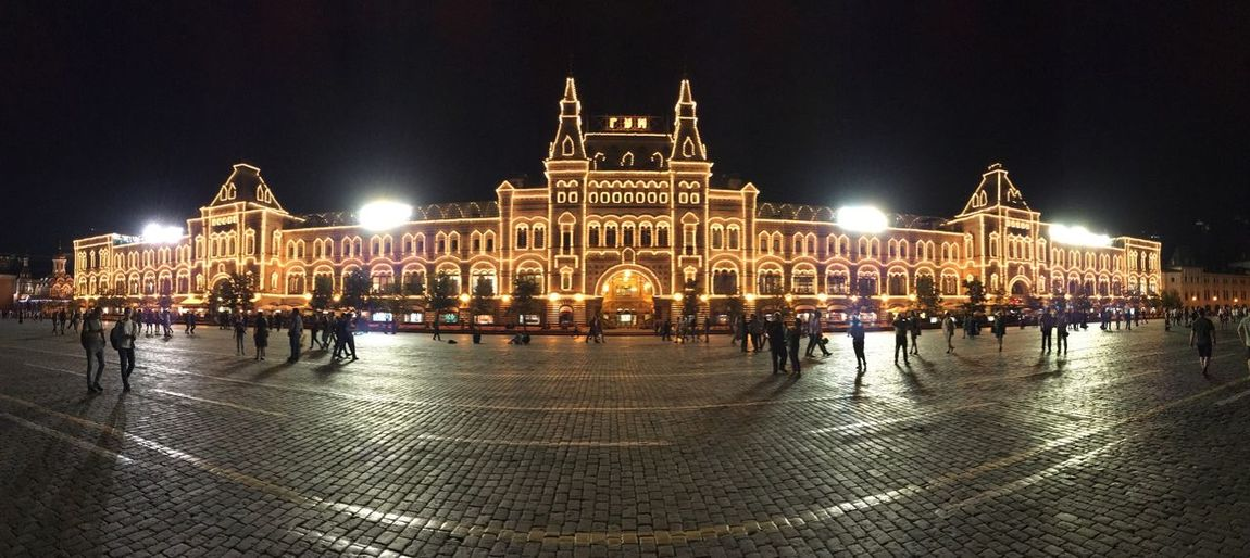 Red square, GUM Night Illuminated Architecture Built Structure Large Group Of People Building Exterior Travel Destinations Tourism History Travel Vacations Outdoors Sky Sculpture Real People City People Panorama Red Square Russia Agriculture Sightseeing Symmetrical Paint The Town Yellow Stories From The City