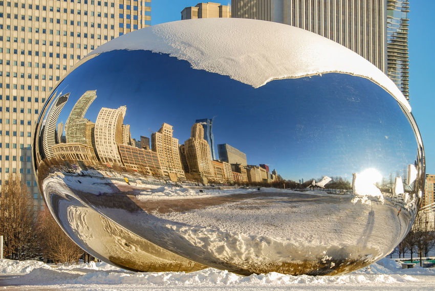 The Cloud Gate (called The Bean) in Chicago's Millennium Park in Winter. Architecture Art Installation Blue Chicago Chicago Skyline Chicago ♥ City Cityscapes Cityscapes_collection Cloud Gate Chicago Day Millennium Park Modern Reflection Reflection_collection Reflections Skyscraper The Bean Chicago Tourism Travel Travel Destinations Travel Photography Urban Exploration Winter Winter In Chicago The Architect - 2017 EyeEm Awards The Architect - 2017 EyeEm Awards