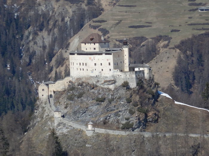 High angle view of buildings on mountain