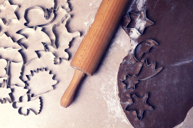Preparation Of Christmas Cookies At Kitchen Counter