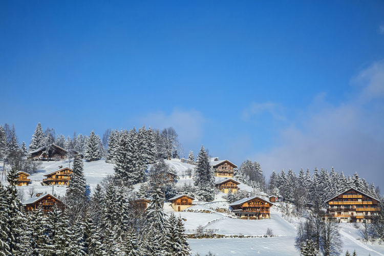 Winter landscape with chalets,Alps,France. Houses Winter Wintertime Alps Architecture Building Exterior Chlaets Cold Temperature Day Landscape Mountain Nature Outdoors Scenics Season  Seasonal Snow Winter Winter_collection