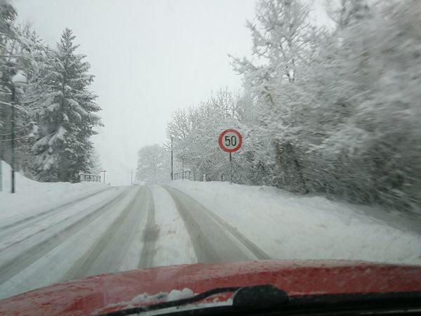 Snowy road Driving Winter Wintertime Tree Snow Cold Temperature Winter Snowing Road Land Vehicle Car Frozen Windshield Tire Track Road Sign Speed Limit Sign