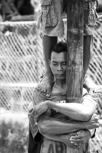 Panjat Pinang (Traditional Game in Indonesia) Bintan  Bintan Island Bintanisland Black & White Black And White Black And White Photography Blackandwhite Blackandwhite Photography Emotions Game Game Day Games Happiness High Contrast Human Interest Human Interest Indonesia Mood Panjat Pinang