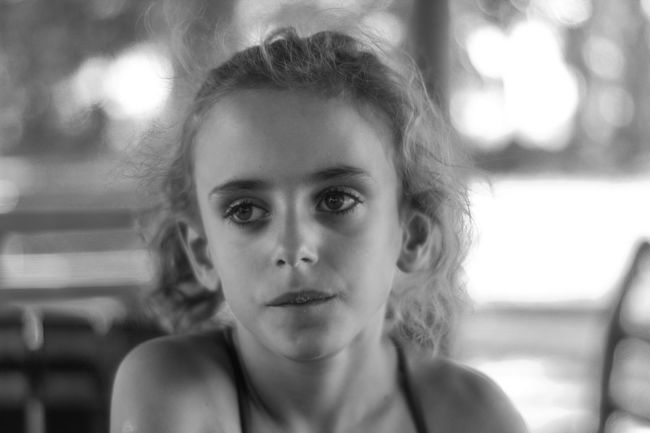 Lost in thoughts Kid Thoughtful Girl Outdoors Fields Blackandwhite Portrait Headshot Child One Person Childhood Front View