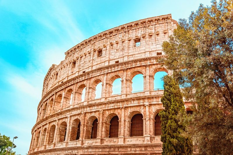 Colosseum, Rome Centurion Rome Colosseum The Past History Ancient Architecture Low Angle View Sky Built Structure Arch Amphitheater Building Exterior Nature Old Ruin Travel Destinations Tourism Travel Day No People Tree Ancient Civilization Archaeology