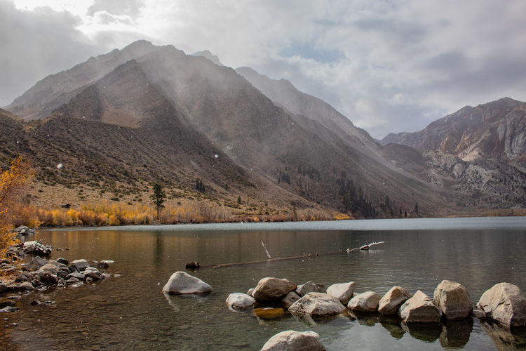 Snow beginning to fall at convict lake, ca
