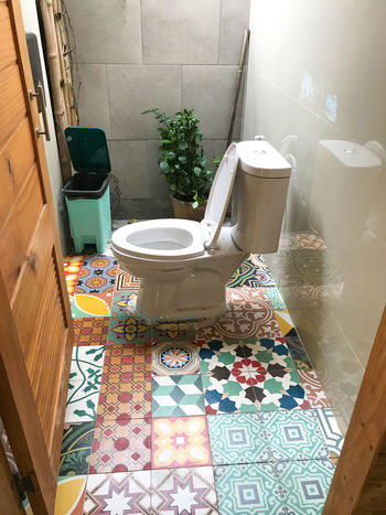 Day Decoration Flushing Toilet High Angle View Indoors  No People Toilet Bowl