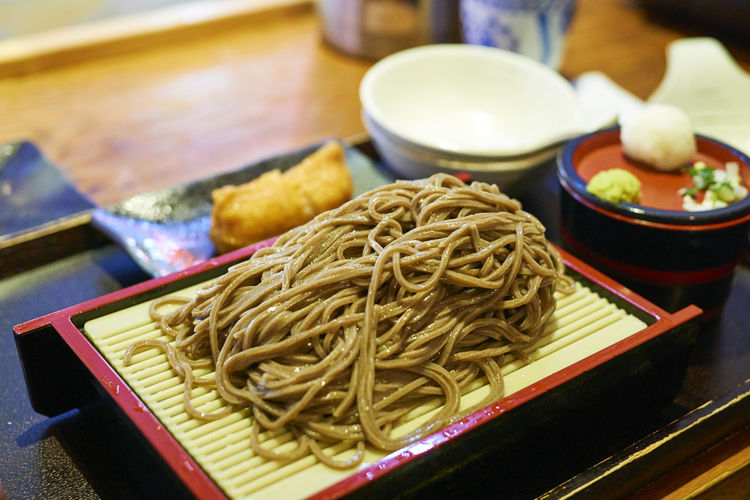 High angle view of noodles on table