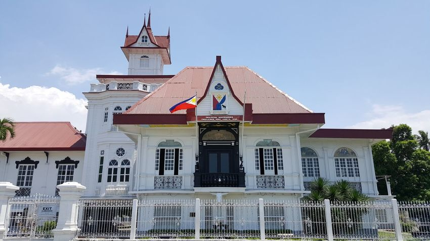 Philippines Nofilter History Architecture No People Flag Building Exterior Travel Destinations Sky Outdoors Built Structure Politics And Government Day Clock Face Aguinaldo Shrine